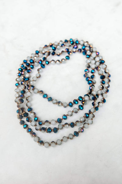 Glitzy Girlz Boutique GG Classic Beaded Necklace, Slate Iridescent