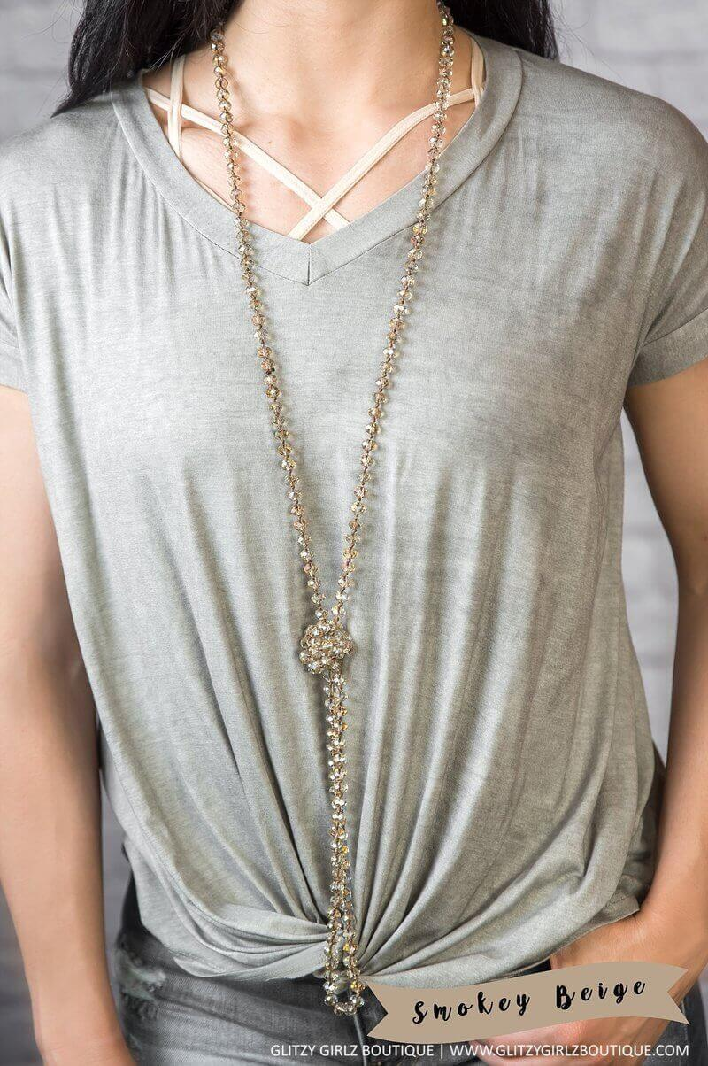 Glitzy Girlz Boutique GG Classic Beaded Necklace, Smoky Beige
