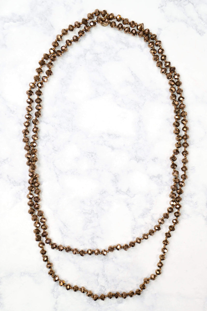 Glitzy Girlz Boutique GG Classic Beaded Necklace, Smoky Brown