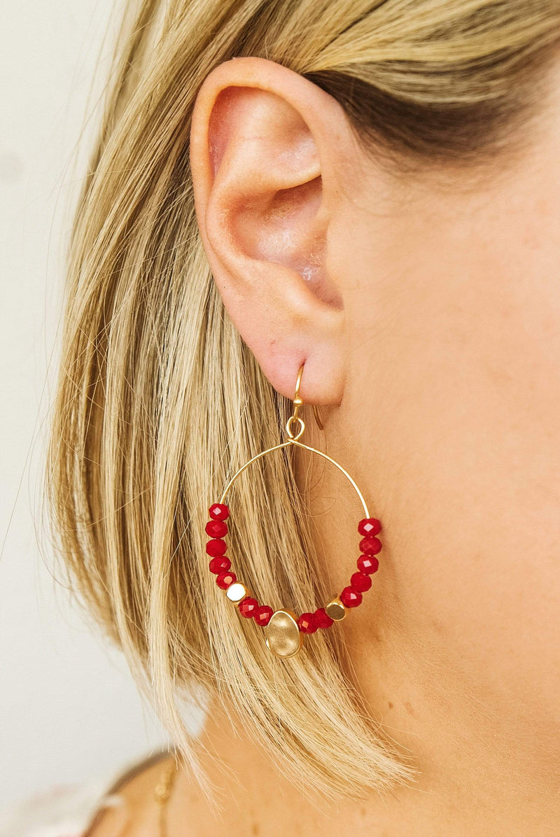 Glitzy Girlz Boutique Glam In The Streets Earrings, Red