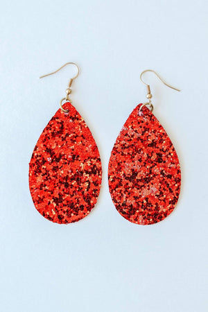 Glitzy Girlz Boutique Glitter Earrings, Red