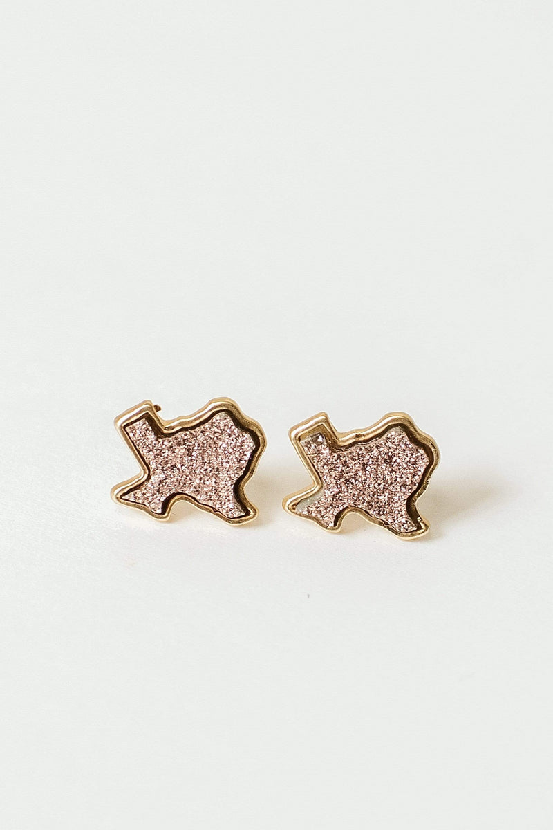 Glitzy Girlz Boutique Glitz Of Texas Earrings, Rose Gold