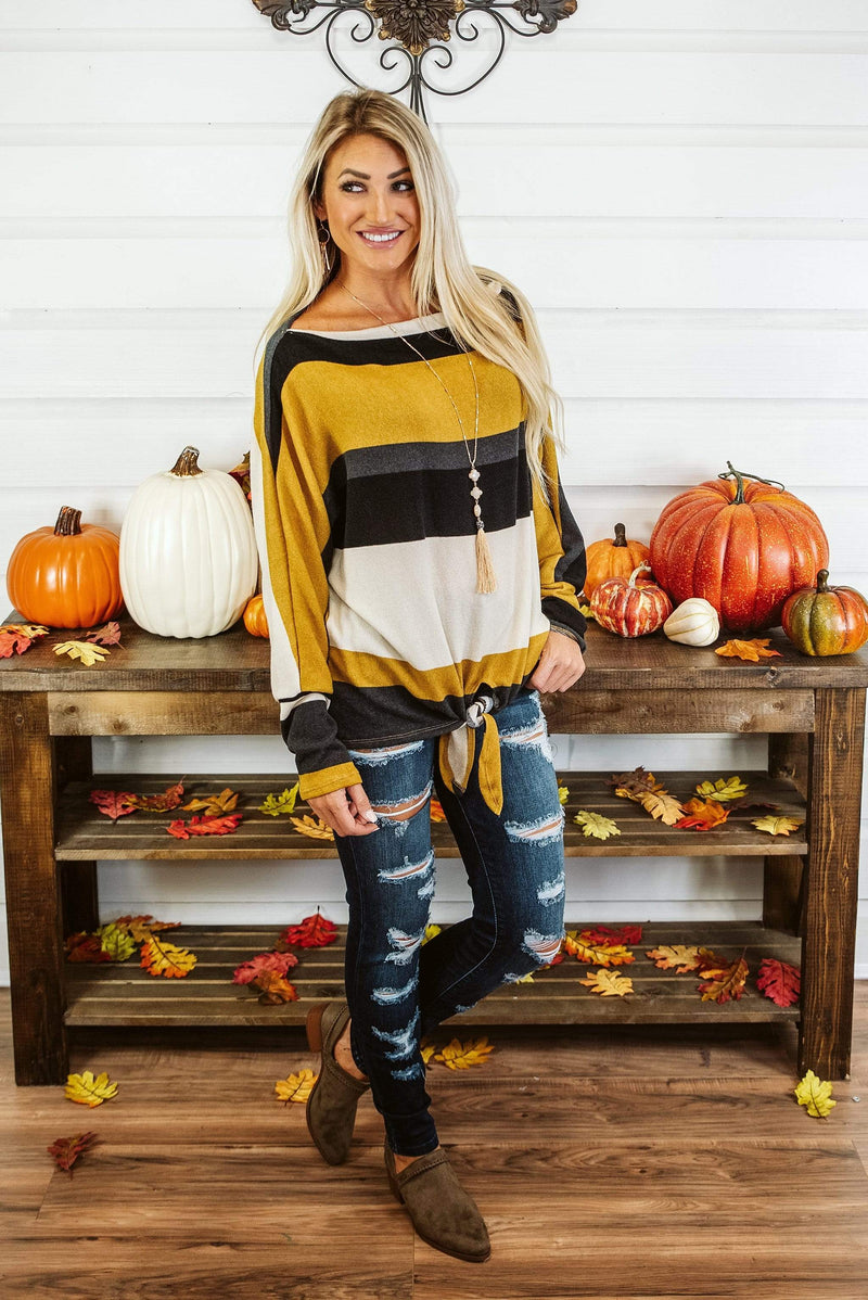 Glitzy Girlz Boutique Good Time Coming Top, Mustard/Charcoal
