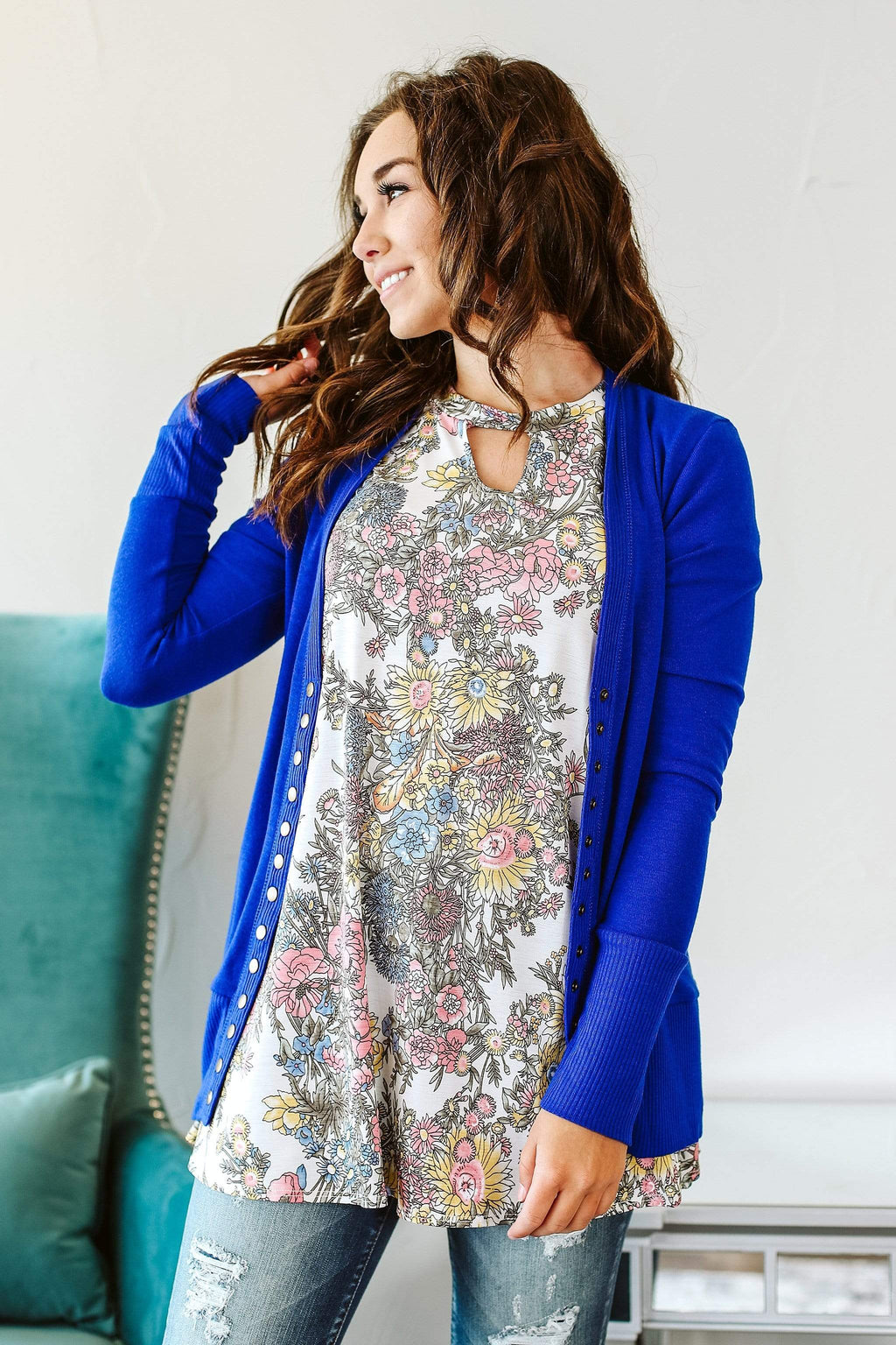 Glitzy Girlz Boutique Good Vibes Cardigan, Denim Blue