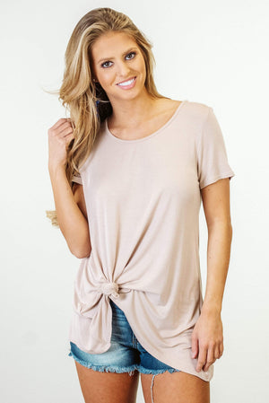 Glitzy Girlz Boutique Got It Made Top, Taupe