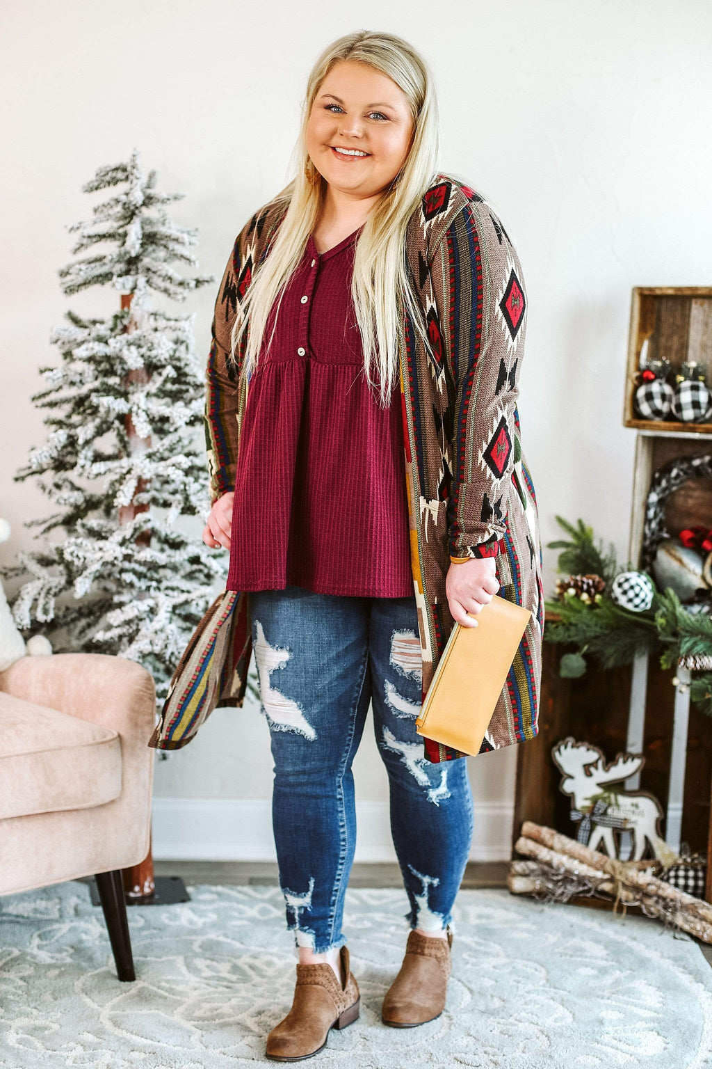 Glitzy Girlz Boutique Got Me Wondering Cardigan | Trendy Plus Size Cardigan