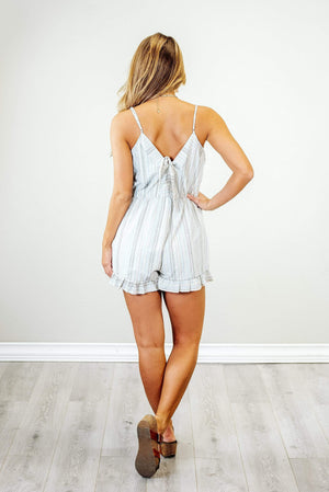 Glitzy Girlz Boutique Have To Know Romper, Blue