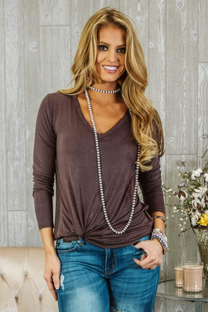 Glitzy Girlz Boutique Hopelessly Devoted Top, Plum Brown