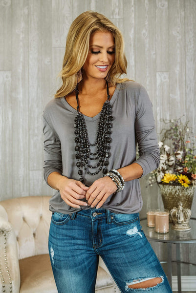 Glitzy Girlz Boutique Hopelessly Devoted Top, Smoke Gray