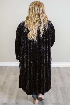 Glitzy Girlz Boutique I Can't Shake It Velvet Duster, Black