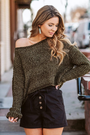 Glitzy Girlz Boutique I'll Love You Forever Sweater, Olive