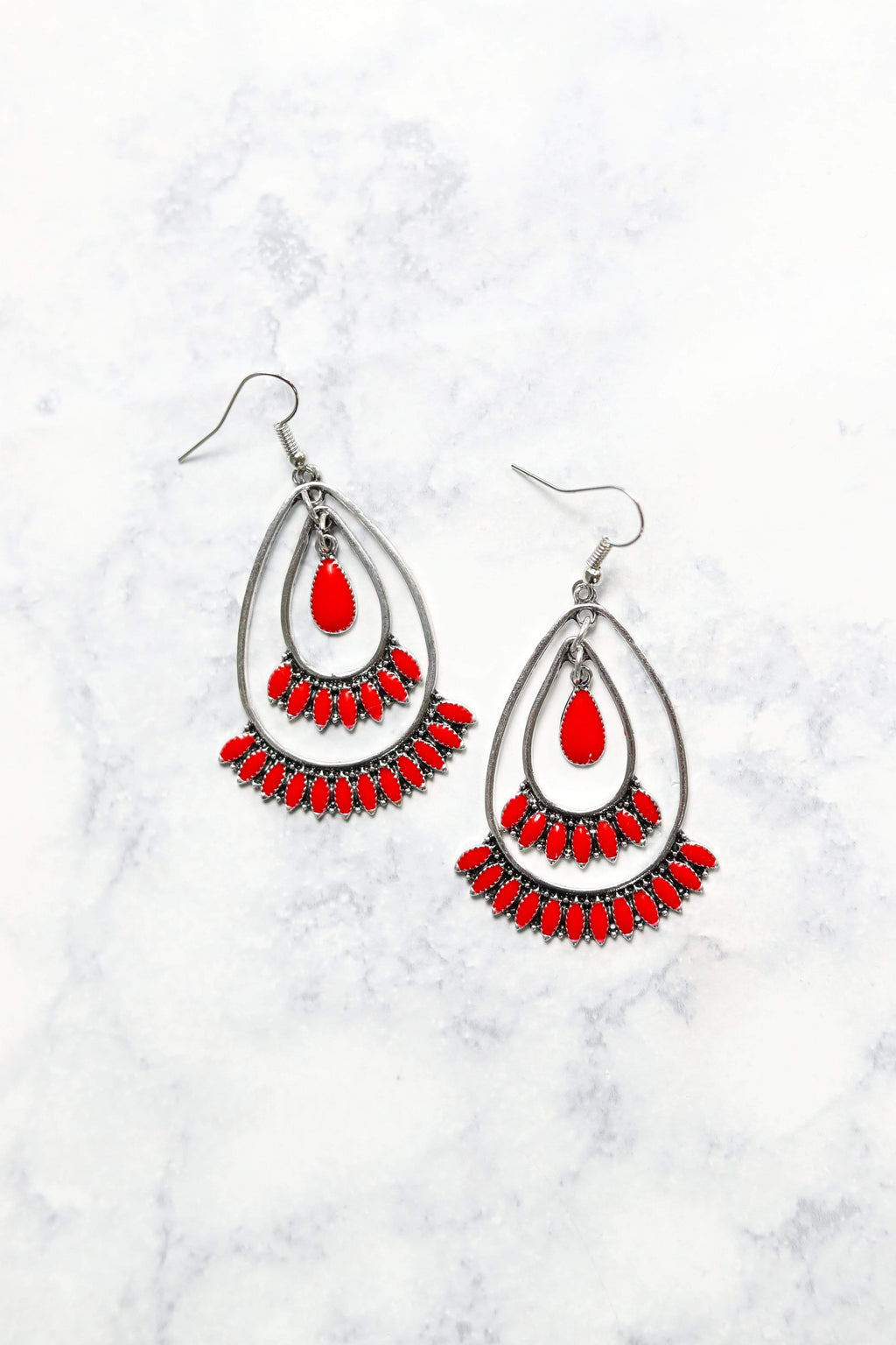 Glitzy Girlz Boutique Indian Paintbrush Earrings, Red