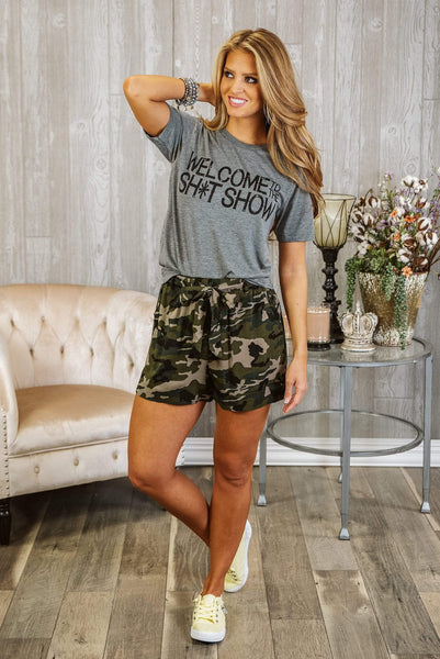 Glitzy Girlz Boutique Into The Woods Shorts, Camo