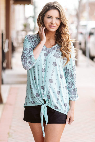 Glitzy Girlz Boutique Just A Kiss Top, Mint/Grey