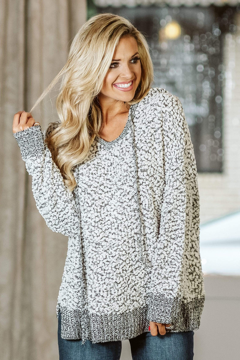 Glitzy Girlz Boutique Just A Touch Hoodie Sweater, Beige/Black