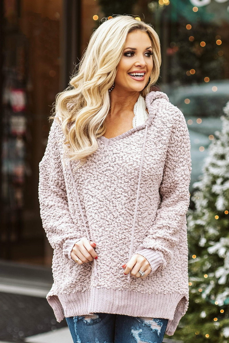 Glitzy Girlz Boutique Just A Touch Hoodie Sweater, Nude