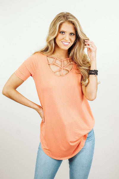 Glitzy Girlz Boutique Keeping Secrets Top, Coral
