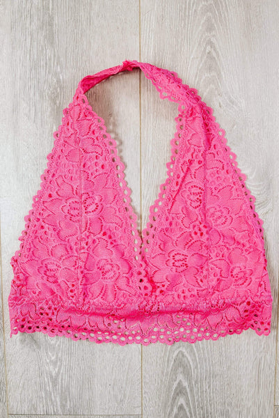 Glitzy Girlz Boutique Laced Halter Bralette, Hot Pink