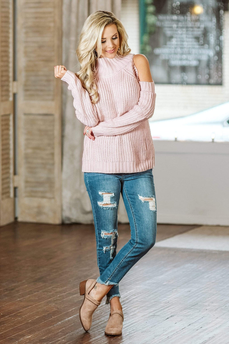 Glitzy Girlz Boutique Leave Them Wanting Sweater, Blush