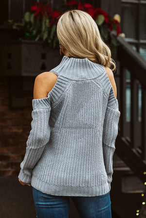 Glitzy Girlz Boutique Leave Them Wanting Sweater, Grey