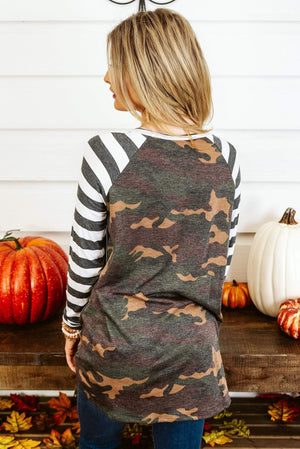 Glitzy Girlz Boutique Letters From Afar Top, Camo