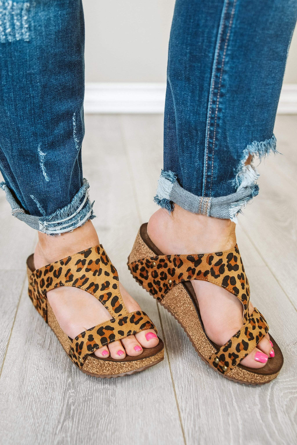 Glitzy Girlz Boutique Lilo Wedge Sandal, Leopard