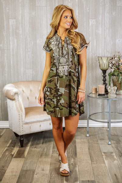 Glitzy Girlz Boutique Little Thrills Dress, Camo