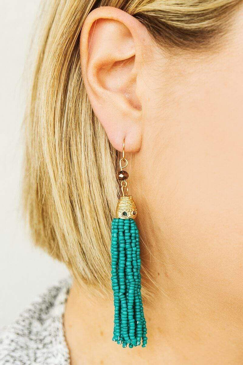 Glitzy Girlz Boutique Long Time Coming Earrings, Teal