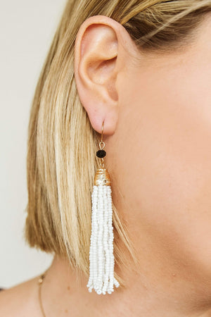 Glitzy Girlz Boutique Long Time Coming Earrings, White