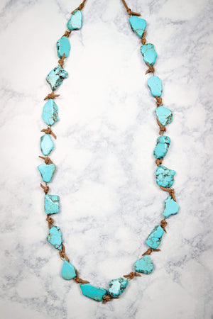 Glitzy Girlz Boutique Look Who's Back Necklace, Turquoise Slab