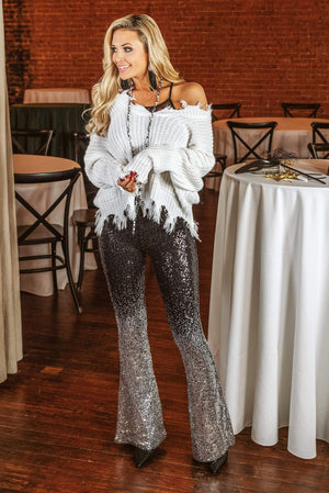 Glitzy Girlz Boutique Looking Around Sequin Pants, Black/Silver