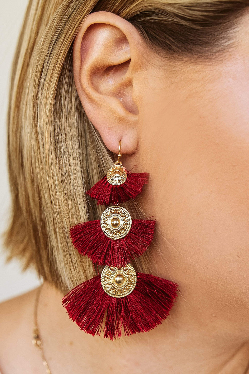 Glitzy Girlz Boutique Love For You Earrings, Burgundy
