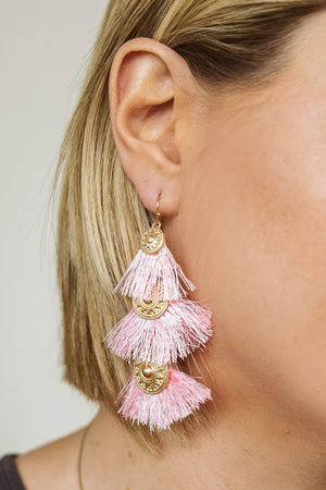Glitzy Girlz Boutique Love For You Earrings, Pink