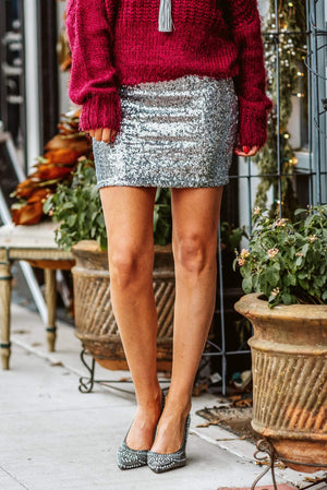 Glitzy Girlz Boutique Make You Feel Alive Sequin Skirt, Silver