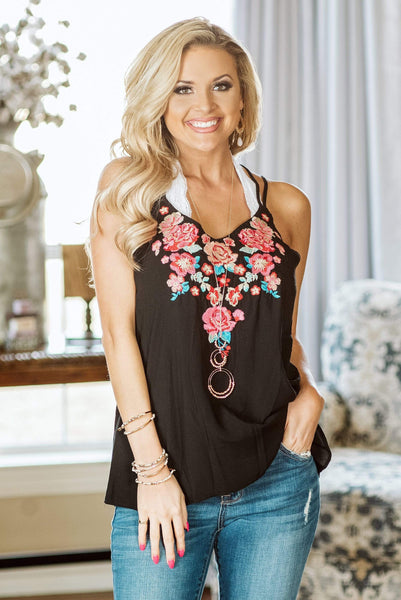 Glitzy Girlz Boutique Midnight Floral Top, Black