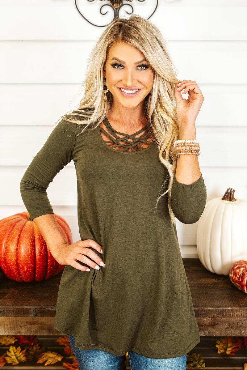 Glitzy Girlz Boutique Might Be So Tunic, Dark Olive