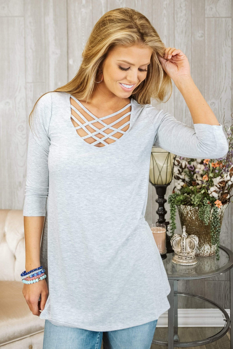 Glitzy Girlz Boutique Might Be So Tunic, Heather Grey