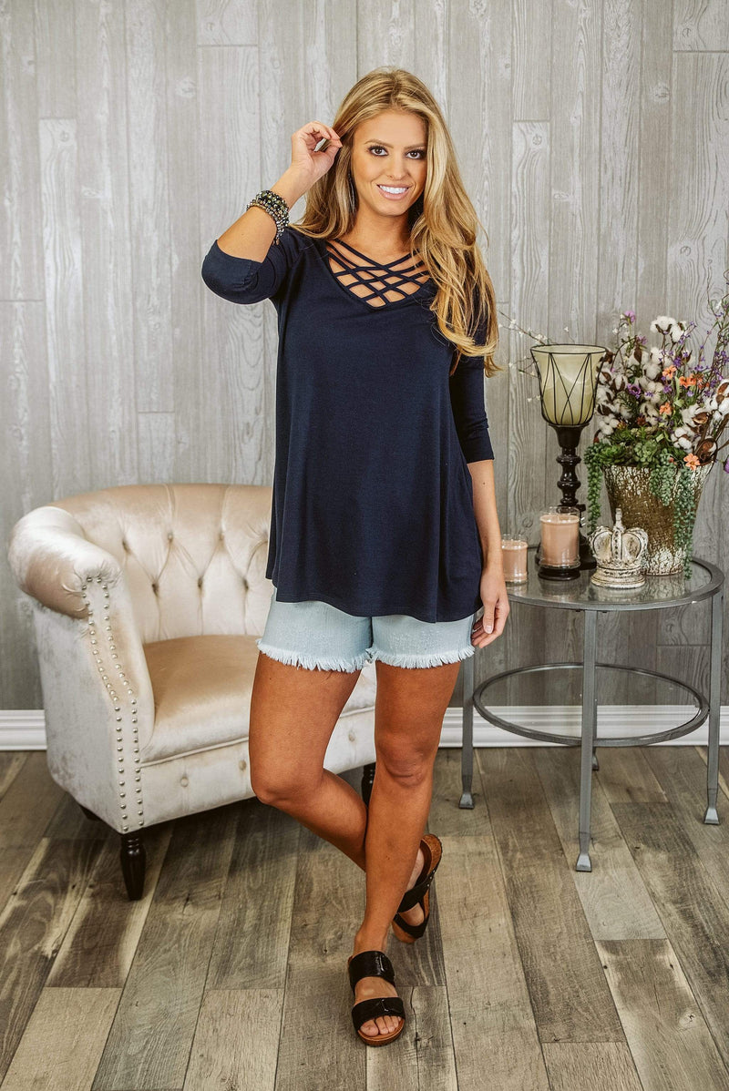 Glitzy Girlz Boutique Might Be So Tunic, Navy