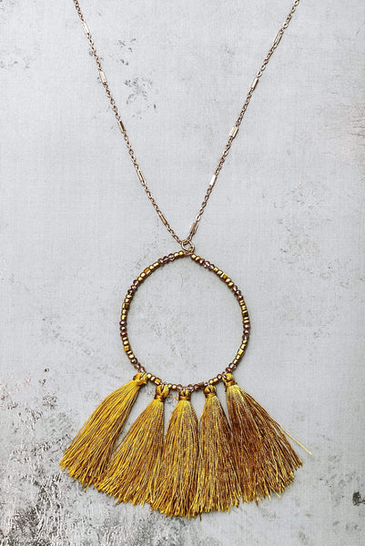 Glitzy Girlz Boutique Moroccan Flair Necklace, Mustard