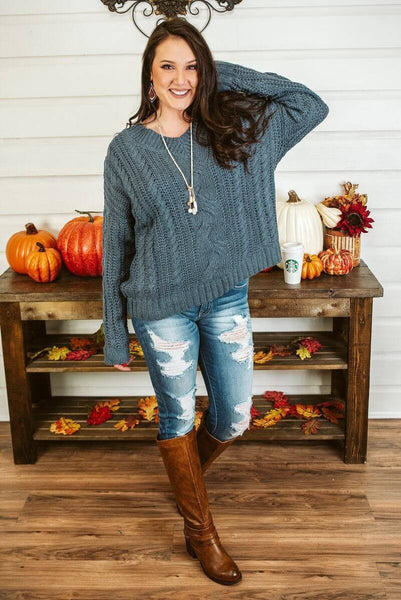 Glitzy Girlz Boutique My Darling Love Sweater, Smoky Blue