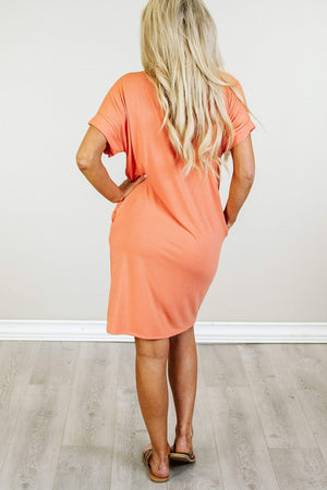 Glitzy Girlz Boutique My Latest Love T-Shirt Dress, Coral