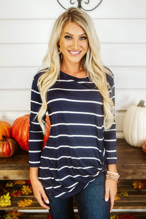 Glitzy Girlz Boutique Necessity Or Knot Top, Navy