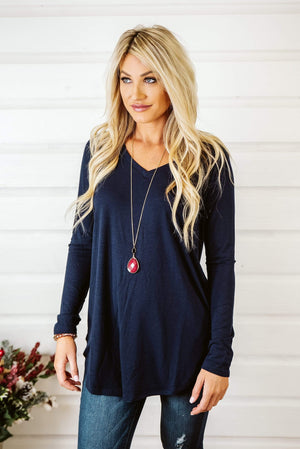 Glitzy Girlz Boutique Never Too Basic Top, Navy
