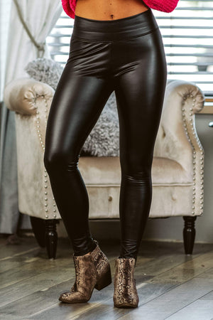 Glitzy Girlz Boutique Nights In NYC Pleather Leggings, Black