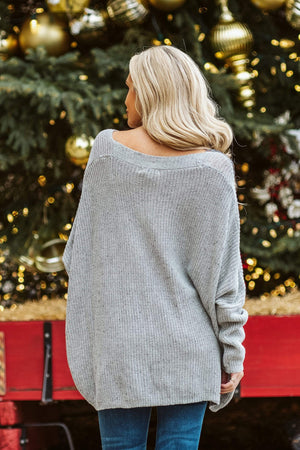 Glitzy Girlz Boutique Now & Then Sweater, Grey