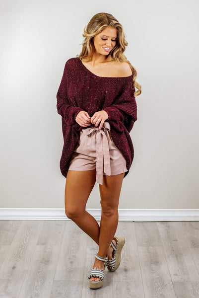 Glitzy Girlz Boutique Now & Then Sweater, Plum