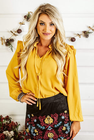 Glitzy Girlz Boutique On The Trend Top, Mustard