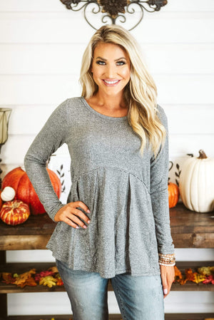 Glitzy Girlz Boutique One Fall Day Top, Grey