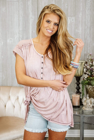 Glitzy Girlz Boutique One Size Keep Talking Top, Light Mauve