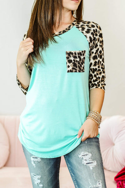 Glitzy Girlz Boutique Only For a While Top, Mint Leopard